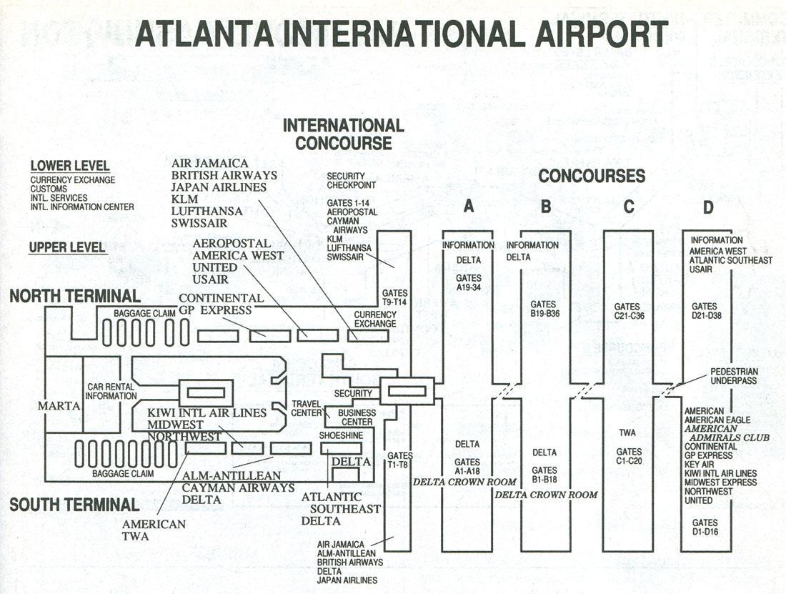 Atlanta airport-Karte-Anschluss s - Atlanta-Flughafen terminal s ...