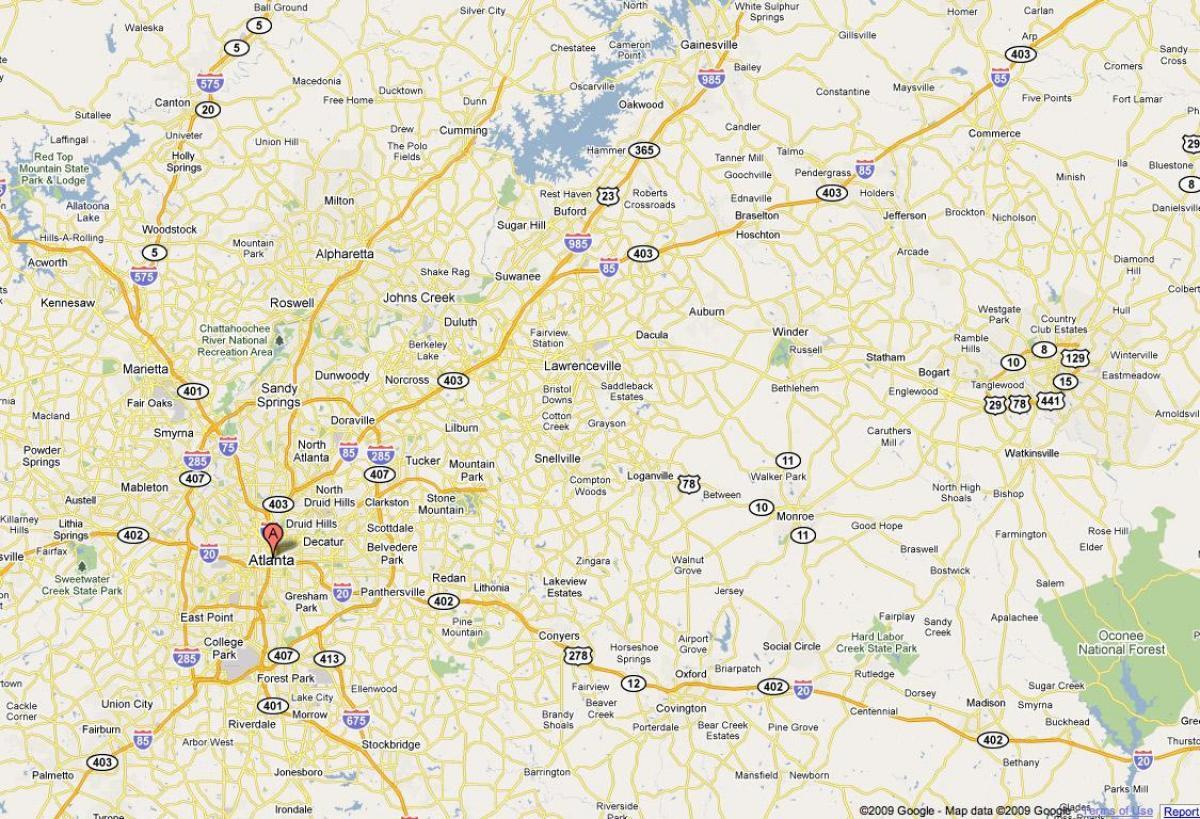 Atlanta, ga-Karte - Karte von Atlanta-ga (Vereinigte Staaten ...