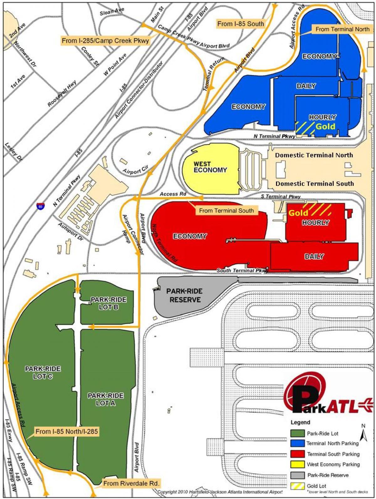 Atlanta airport Parken map - Atlanta Hartsfield airport parking map ...