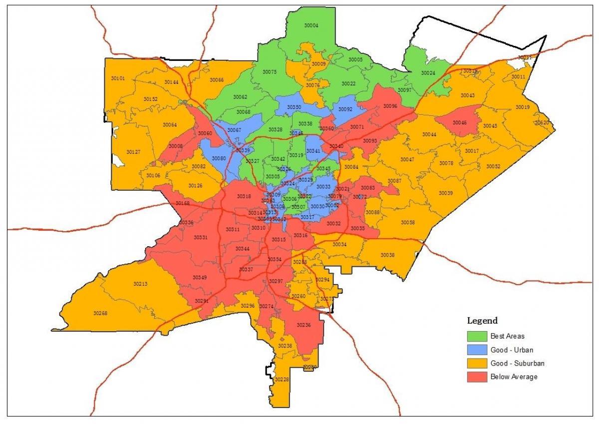 Atlanta zip code map - Zip code map von Atlanta (Vereinigte Staaten on
