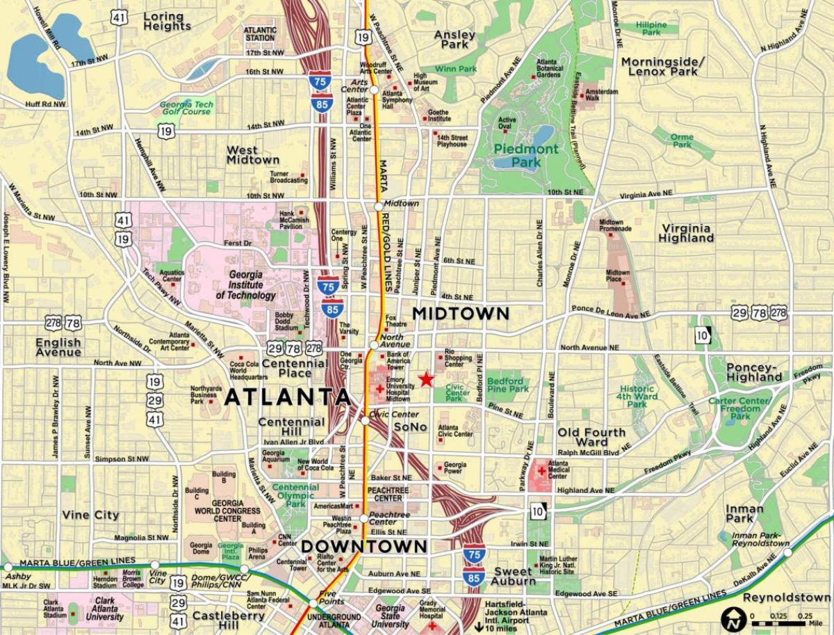 Midtown Atlanta Map Karte Von Midtown Atlanta Vereinigte